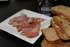 The ultimate Sunday morning breakfast; ham, toast